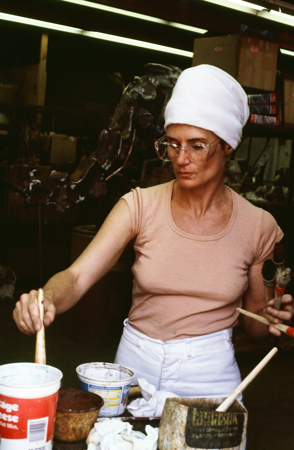 Nancy Graves working on Taxidermy Form, (1979) in 1979 in Patina at the Tallix Beacon